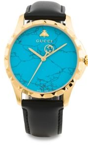 Gucci Black Gold Turquoise G Timeless watch